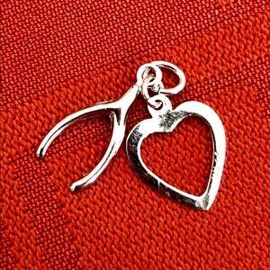 Jewelry - Sterling Silver Wishbone/Heart Charm/Pendant